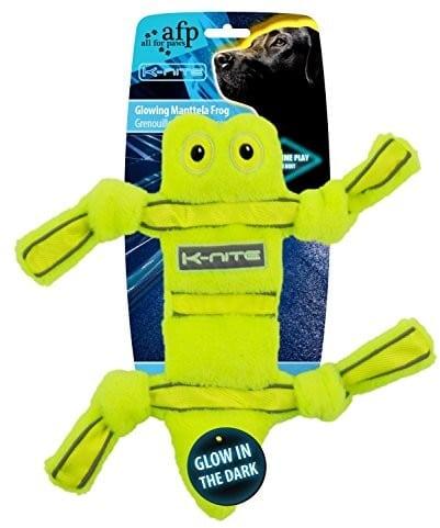All for Paws K-Nite Glowing manttela Frog neongelbes psy fluorescencyjna szwów do zabawy i logo - 1 zdjęcie