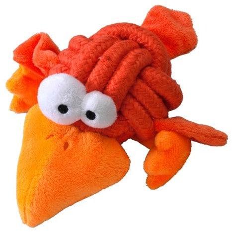 COOCKOO Cookoo węzłów rozmiar L (8cm) do średnich i dużych psów za sprawą kolorowej TAU węzeł z plueschigen vogelgliedmassen, pomarańczowy - 1 zdjęcie