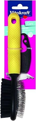 Vitakraft Siła Vita 2-W-1szczotka do pielęgnacji kotów, metalowe i nylonowe włosie, antypoślizgową gumową rękojeścią, tworzywo sztuczne 31391 - 1 zdjęcie