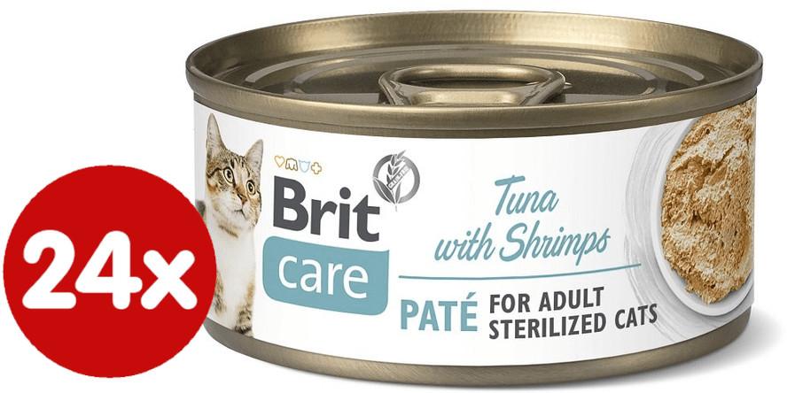 Brit mokra karma dla kota Care Cat Sterilized Tuna Paté with Shrimps 24x70 g - 1 zdjęcie