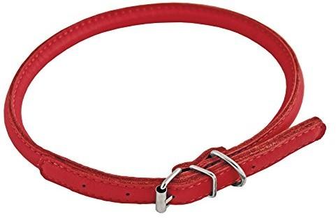 CHAPUIS SELLERIE CHAPUIS SELLERIE SLA689 okrągły regulowany obroża dla psów i kotów - czerwona skóra - średnica 6 mm - długość 17-20 cm - rozmiar XS SLA689 - 1 zdjęcie