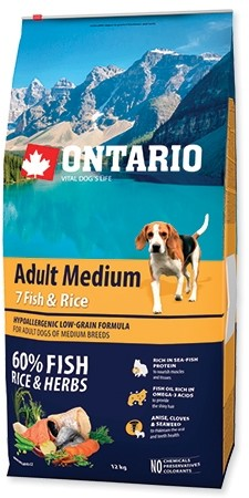 Ontario Adult Medium 7 Fish & Rice 12 kg - 1 zdjęcie