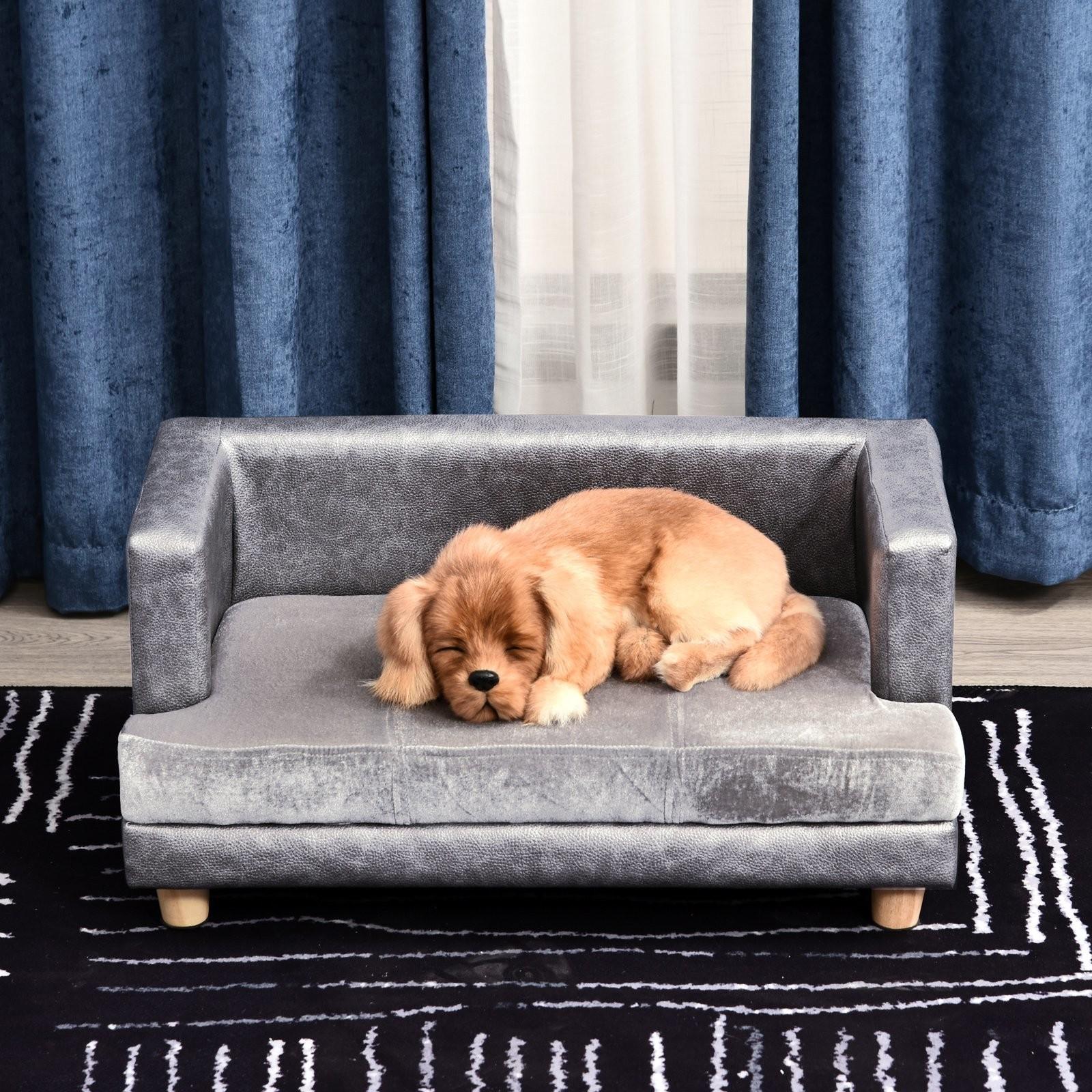 PawHut Sofa dla Psa Zwierząt Domowych Łóżko Legowisko Mata Salon Ekoskóra Plusz Szary - 1 zdjęcie